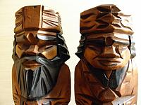 Vintage wooden pair dolls of ethnic Ainu people