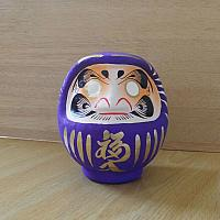 purple colored Daruma made at Takasaki, Japan: No 1 size